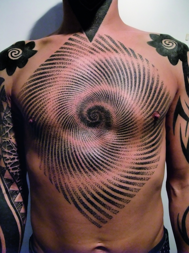 Black Ink Illuminati Eye Tattoo On Chest