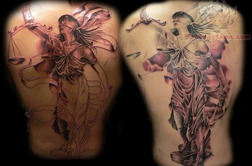 Justice Tattoo Design For Back Body
