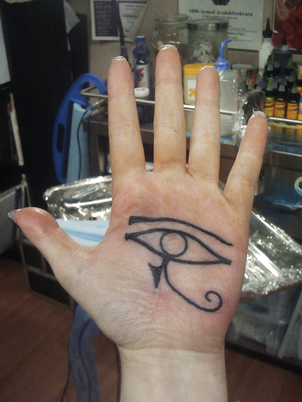 Eye Tattoo on Palm of Hand Left Horus Eye Tattoo on Palm