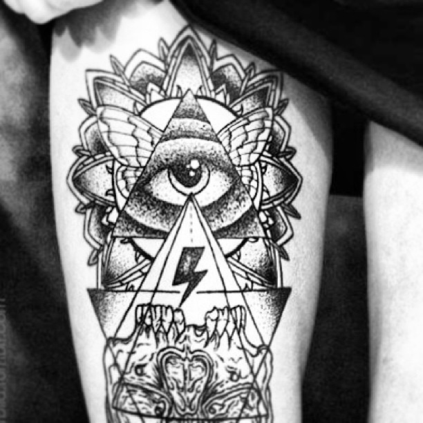 Rose Flower And Illuminati Eye Tattoo On Left Forearm