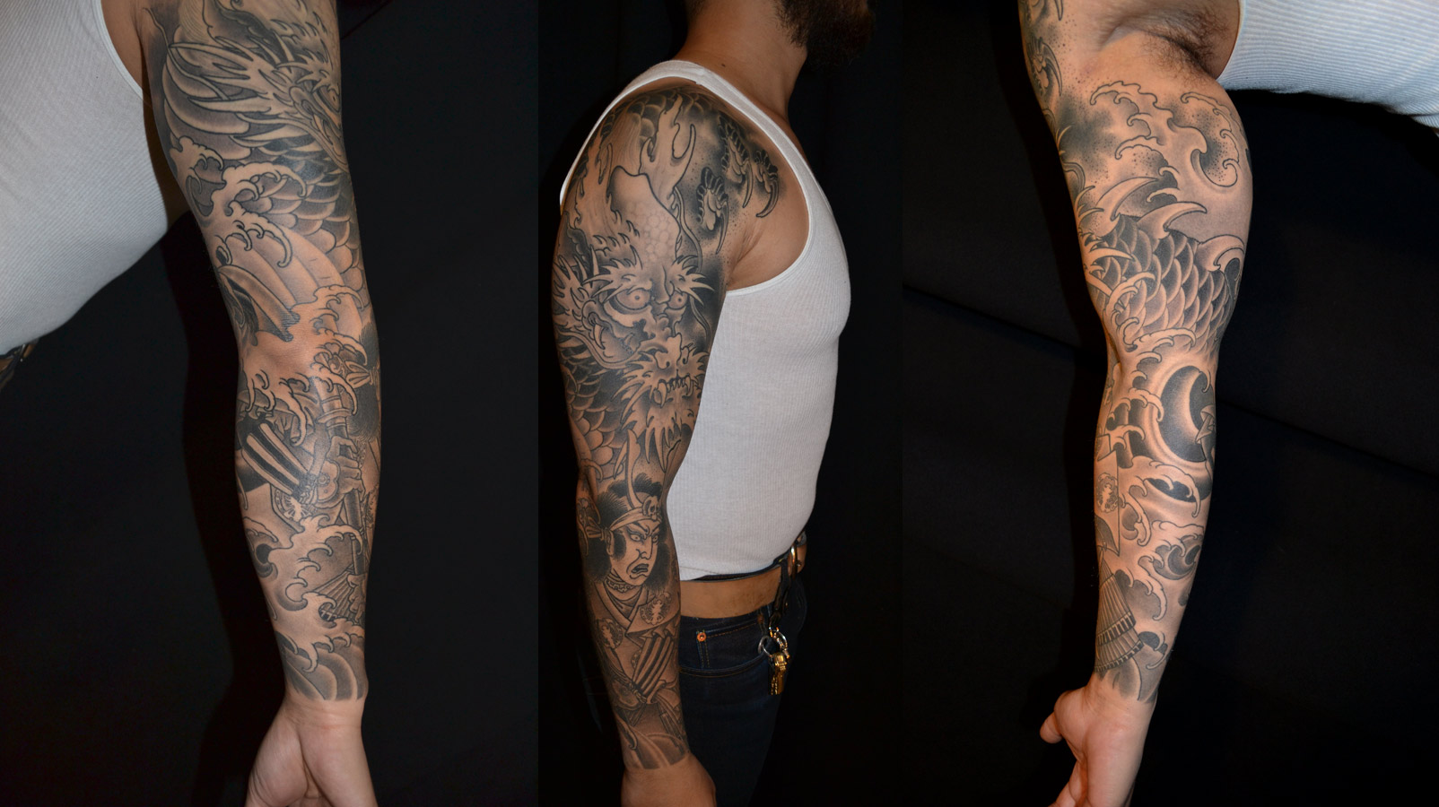 Amazing Grey Ink Japanese Tattoo On Full Sleeve