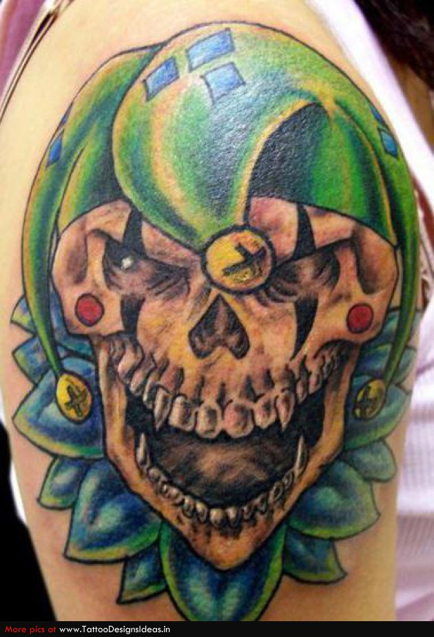 Jester tattoo images designs for Color skull tattoos
