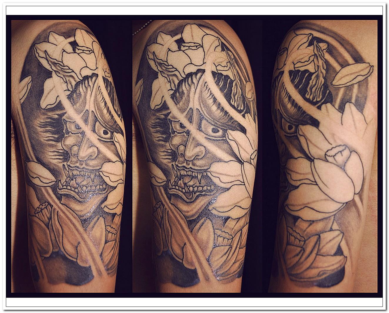 Awful grey ink japanese tattoo on half sleeve biocorpaavc Choice Image