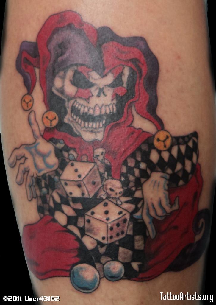 Beautiful Colored Jester Tattoo