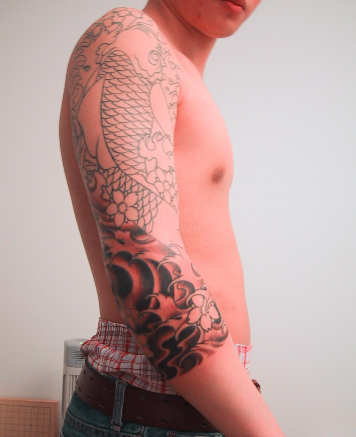 7e5708347 Color Ink Japanese Tattoo On Man Right Sleeve
