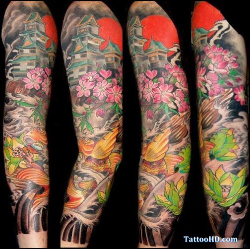 Colored flowers japanese tattoo on full sleeve for Japanese full arm tattoo