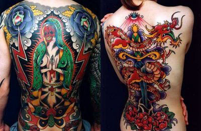 Colored Japanese Dragon Tattoo On Back Bodies