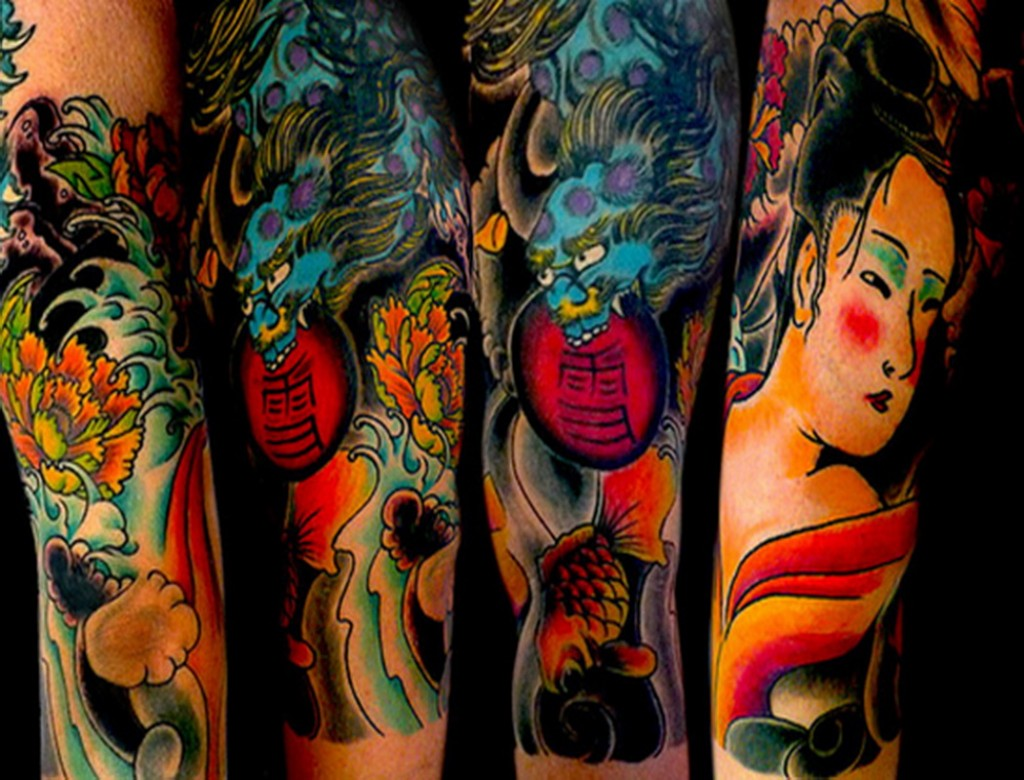 Colored Japanese Flowers and Koi Fish Tattoo On Full Sleeve