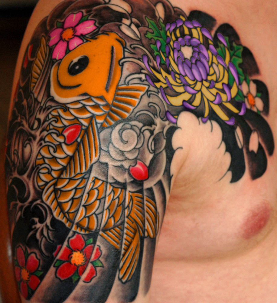 Japanese Style Sleeve Tattoo Flowers Koi Samurai: Japanese Tattoo Images & Designs