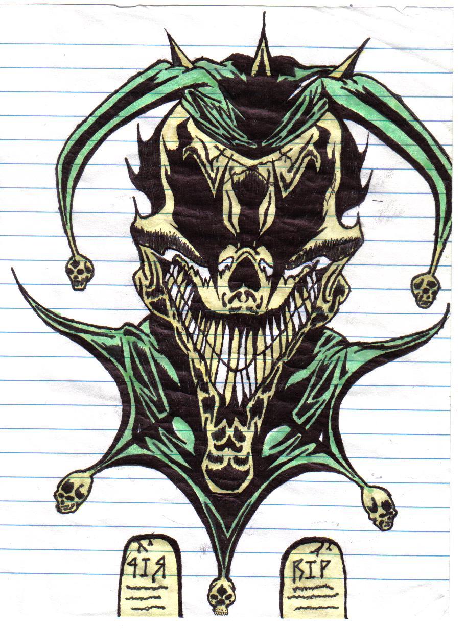Green Wicked Jester Tattoo Design