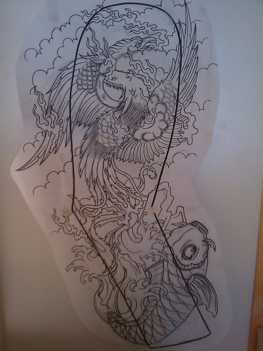 Grey Ink Japanese Tattoo Design