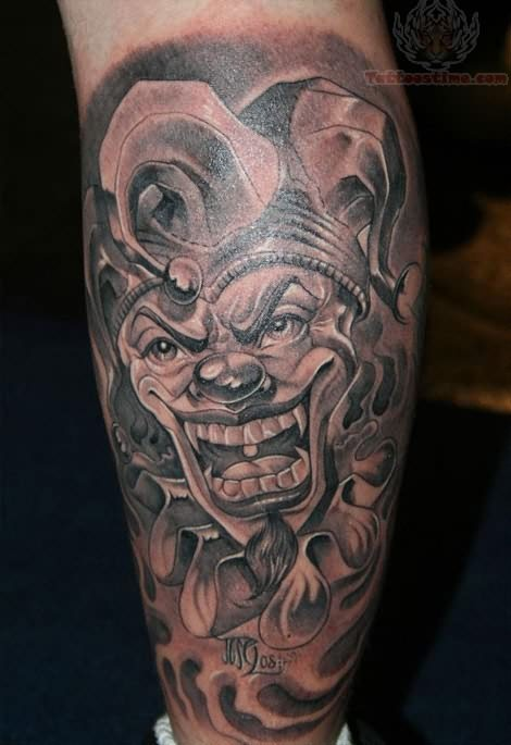 grey ink joker jester tattoo on leg. Black Bedroom Furniture Sets. Home Design Ideas