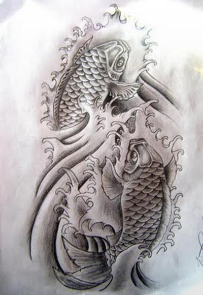 Japanese tattoo images designs for Grey koi fish