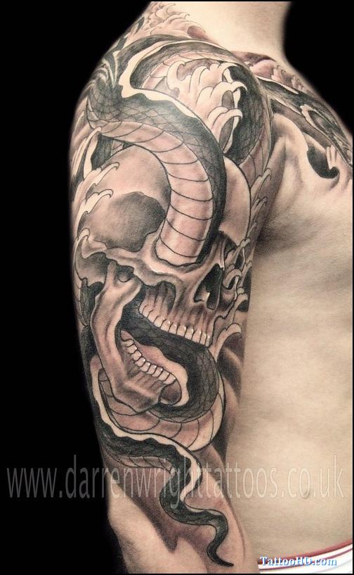 3493cb415829f Grey Ink Skull And Snake Japanese Tattoo On Right Half Sleeve