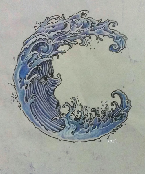 Japanese flower and water wave tattoo design hot girls for Water in japanese