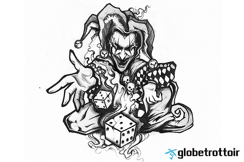 nice grey ink joker clown jester tattoo design rh tattoostime com Evil Skull Tattoos Evil Tattoo Drawings