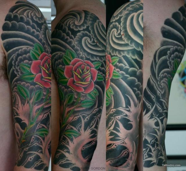 Red Rose And Japanese Tattoos On Full Sleeve