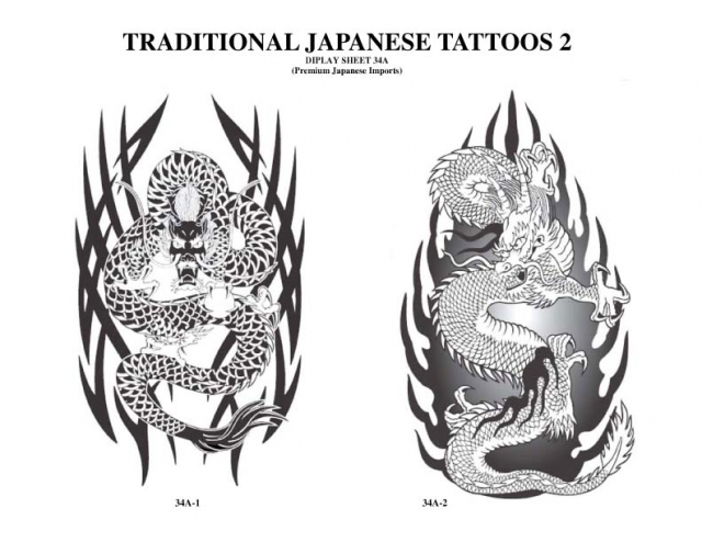 Tribal And Japanese Dragon Tattoos Designs