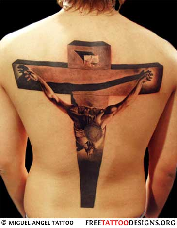 3d jesus cross tattoo on back. Black Bedroom Furniture Sets. Home Design Ideas
