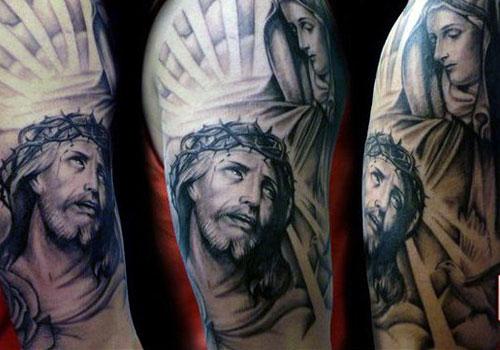 amazing grey ink jesus head tattoo on right half sleeve. Black Bedroom Furniture Sets. Home Design Ideas