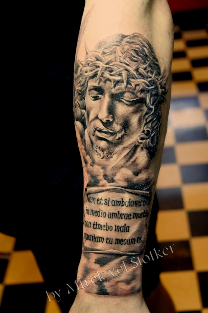 86ccfd7dce421 Attractive Grey Ink Jesus Head Tattoo On Left Arm