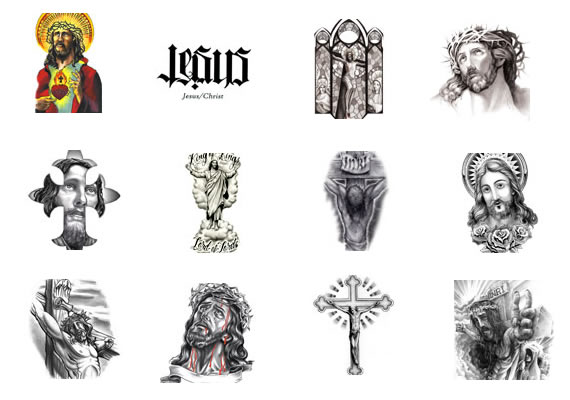 Awesome Grey Ink Jesus Tattoos Designs