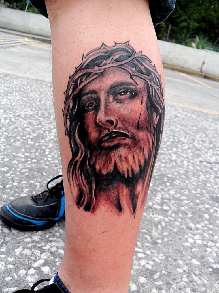 Beautiful Grey Ink Jesus Tattoo On Left Leg