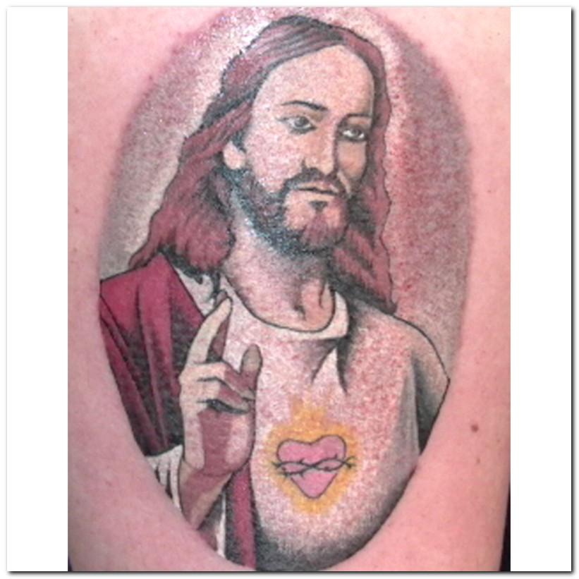 Color Jesus Head Tattoo On Shoulder