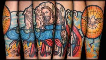 Colored Jesus Tattoo on Full Sleeve