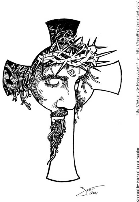 Line Art Cross : Cross and jesus face tattoo design