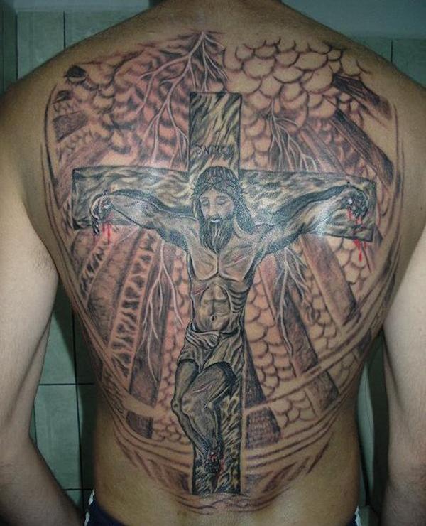 Jesus tattoo images designs for Big cross tattoos