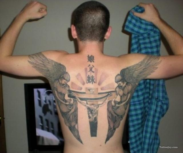 grey ink winged cross and jesus tattoo on back. Black Bedroom Furniture Sets. Home Design Ideas