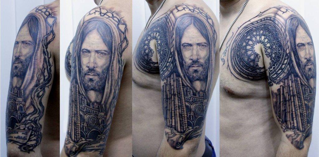 Jesus Tattoo On Half Sleeve