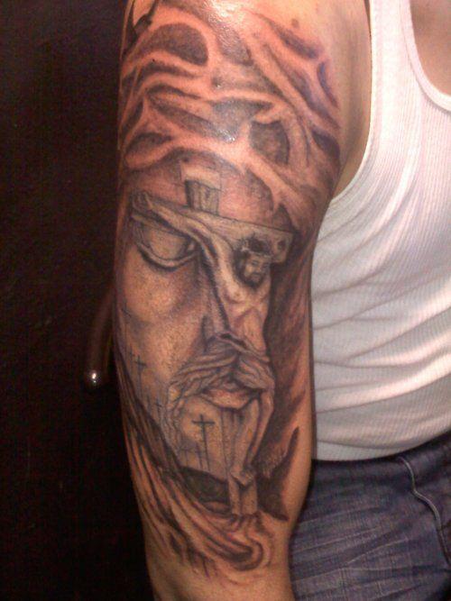 Jesus Tattoo On Man Right Full Sleeve