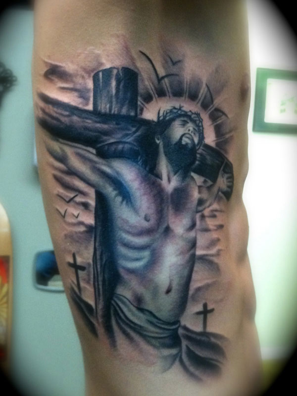 Jesus tattoo images designs for Religious rib tattoos for guys