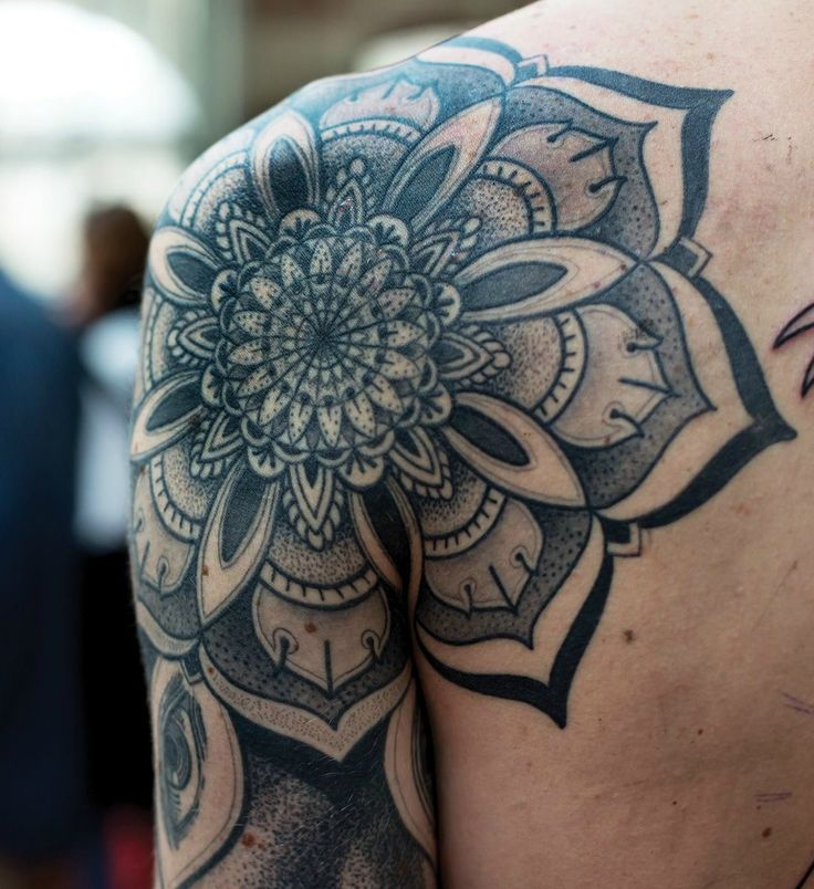 Awesome Grey Ink Mandala Flower Tattoo On Shoulder