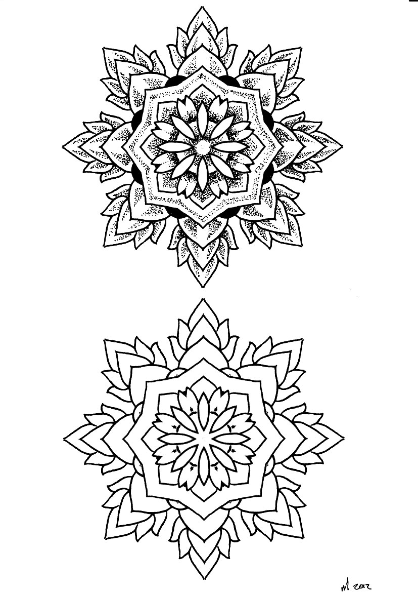 Red Ink Mandala Tattoos Designs