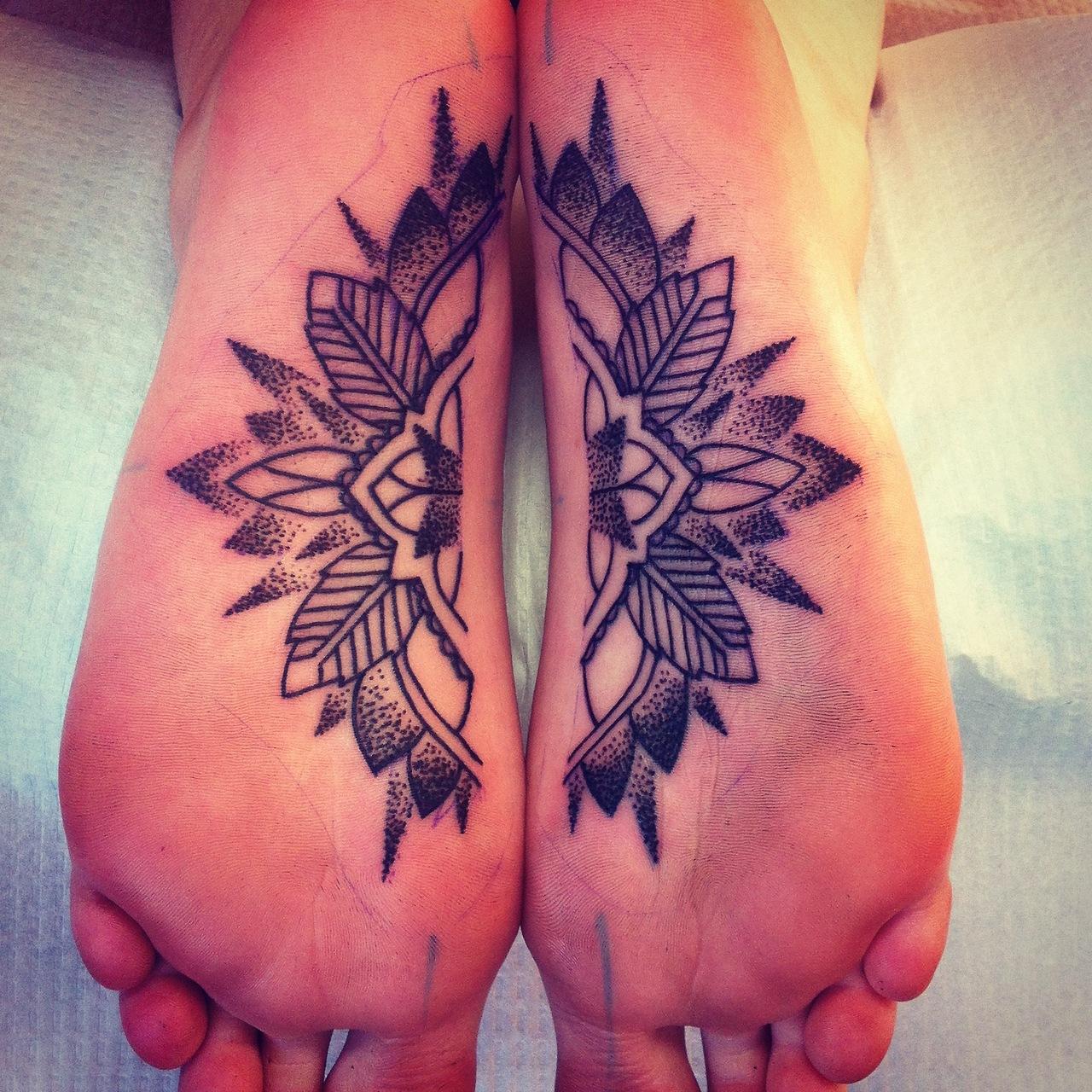 black ink mandala tattoos under foot. Black Bedroom Furniture Sets. Home Design Ideas