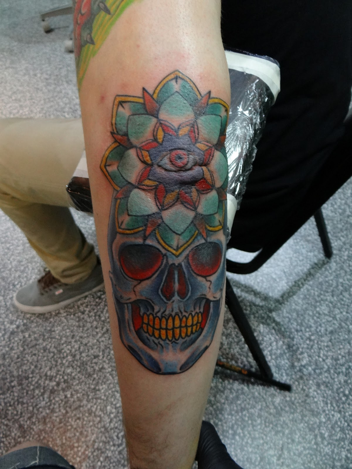Colored skull and mandala tattoo on sleeve for Color skull tattoos