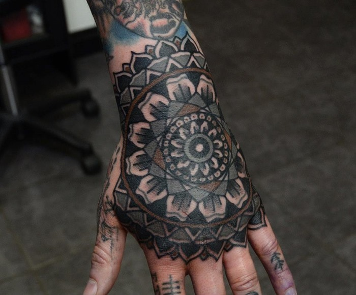 Mandala tattoo images designs for Flower tattoos on hand