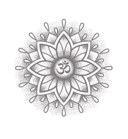 Grey Ink Om Symbol In Mandala Tattoo Design
