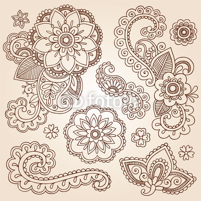 Henna Design Mandala Flower Tattoos Design  Dark Brown Hairs