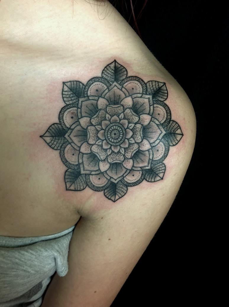 Mandala Flower Tattoo On Collarbone
