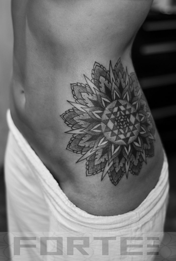 Mandala Flower Tattoo On Left Side Rib