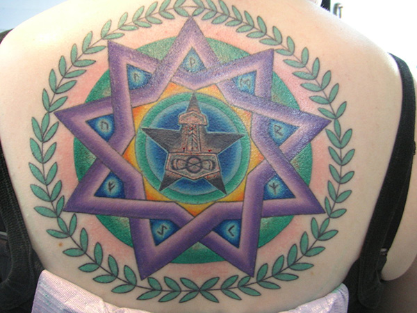 Grey Ink Pentagram Mandala Tattoo On Right Shoulder