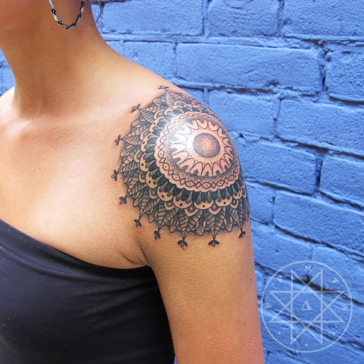 Mandala Tattoo On Girl Left Shoulder