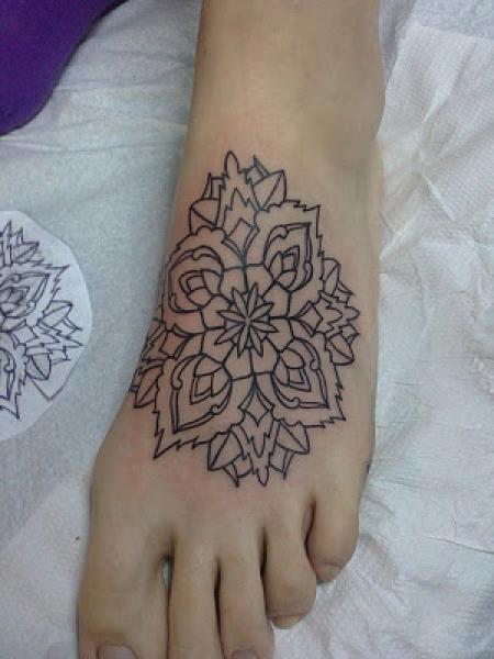outline mandala flower tattoo on left foot. Black Bedroom Furniture Sets. Home Design Ideas