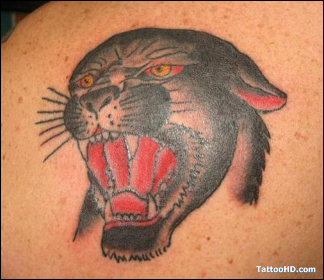 0c2a9e5bf6501 Attractive Black Panther Head Tattoo On Left Back Shoulder