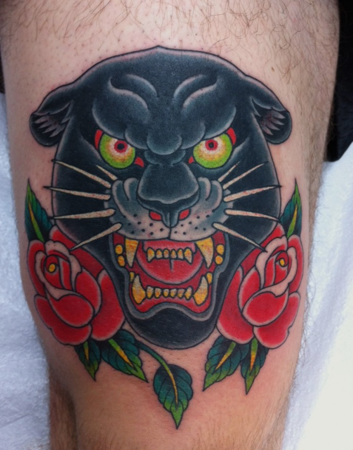 The gallery for traditional panther head flash for Traditional panther tattoo