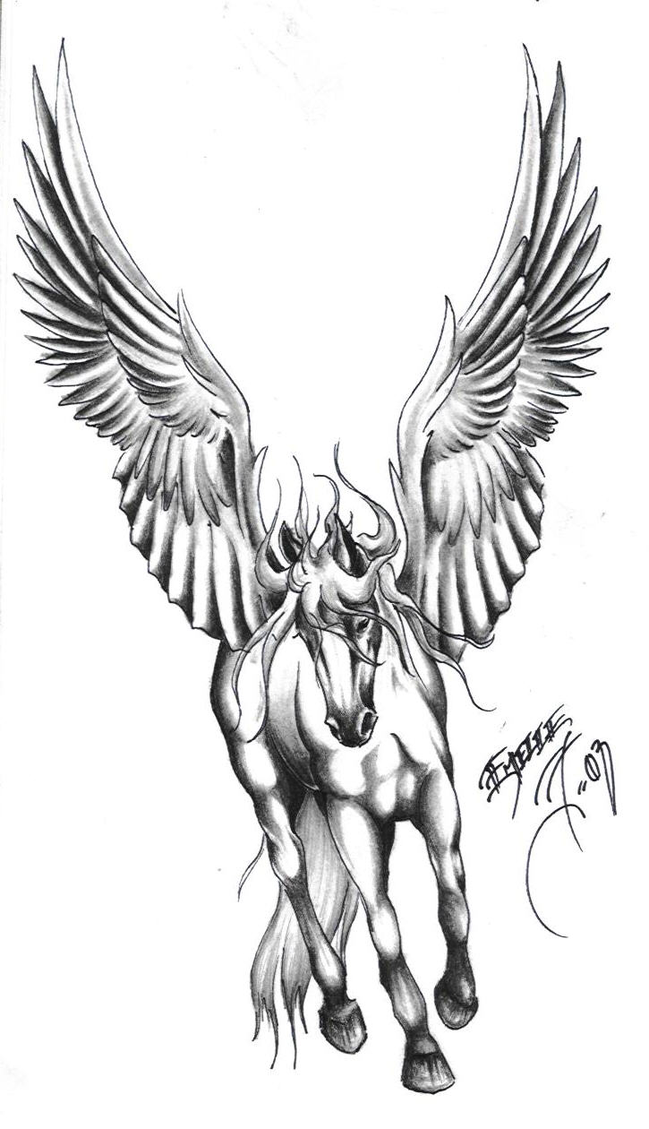 Best Grey Ink Pegasus Tattoo On Man Chest